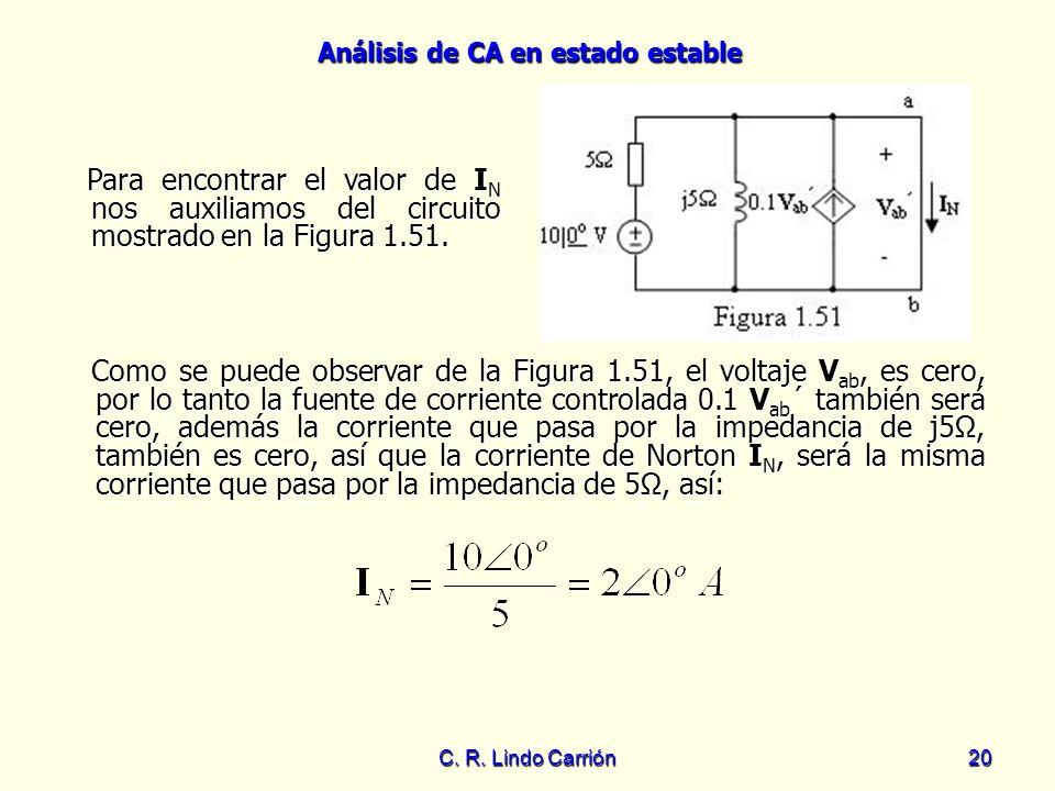 Para encontrar el valor de IN nos auxiliamos del circuito mostrado en la Figura 1.51.