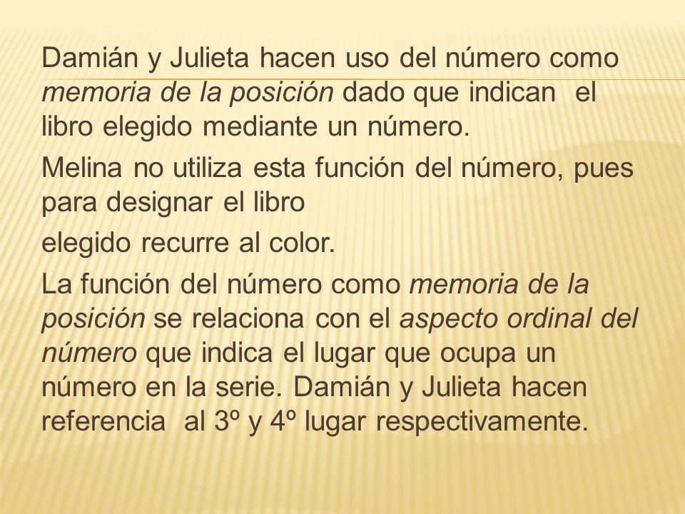 Damián y Julieta hacen uso del número como memoria de la posición dado que indican el libro elegido mediante un número.