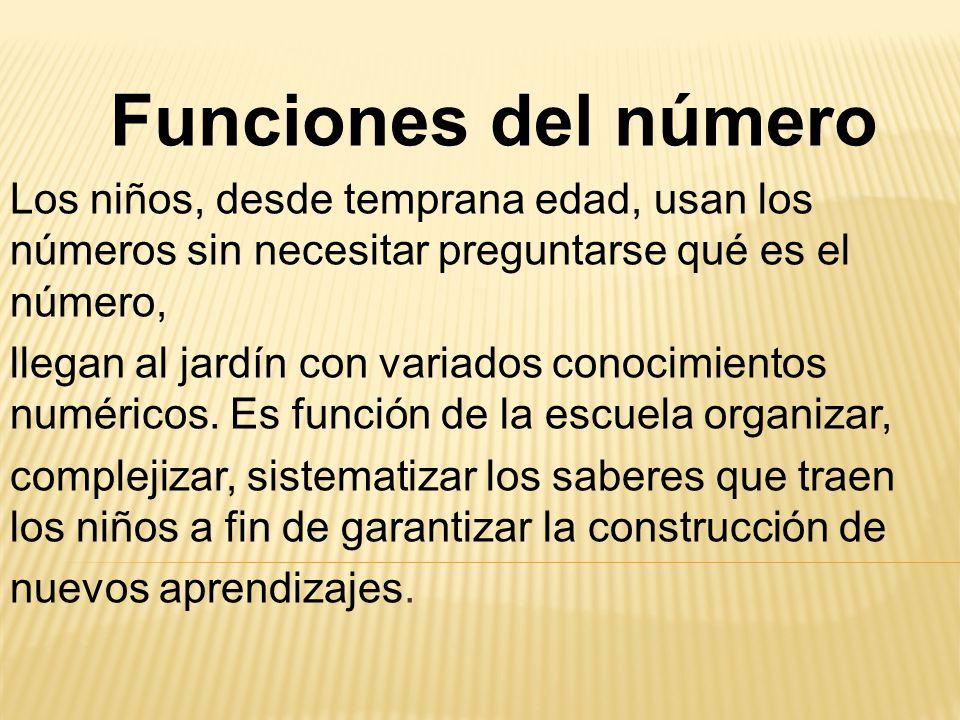 Funciones del número Los niños, desde temprana edad, usan los números sin necesitar preguntarse qué es el número,