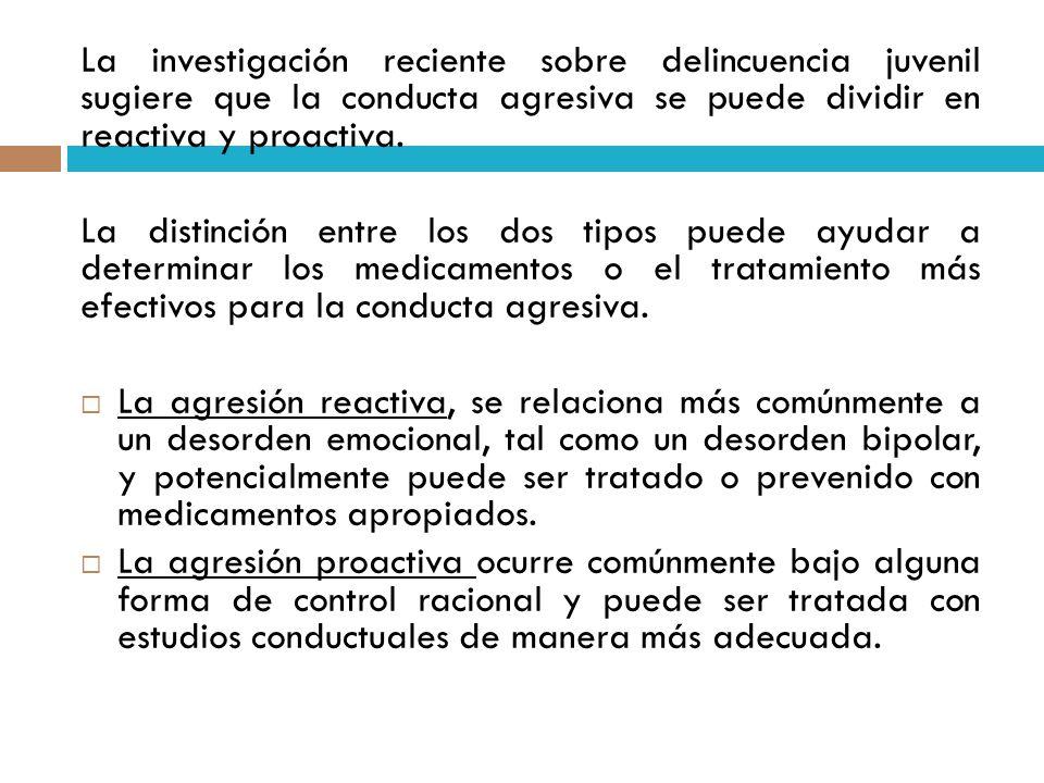 La investigación reciente sobre delincuencia juvenil sugiere que la conducta agresiva se puede dividir en reactiva y proactiva.