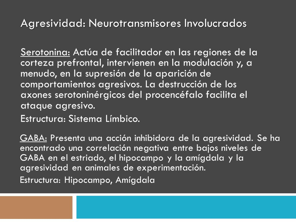 Agresividad: Neurotransmisores Involucrados