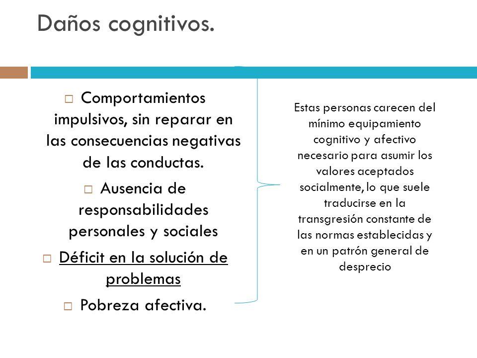Daños cognitivos. Comportamientos impulsivos, sin reparar en las consecuencias negativas de las conductas.