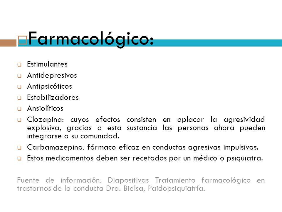 Farmacológico: Estimulantes Antidepresivos Antipsicóticos