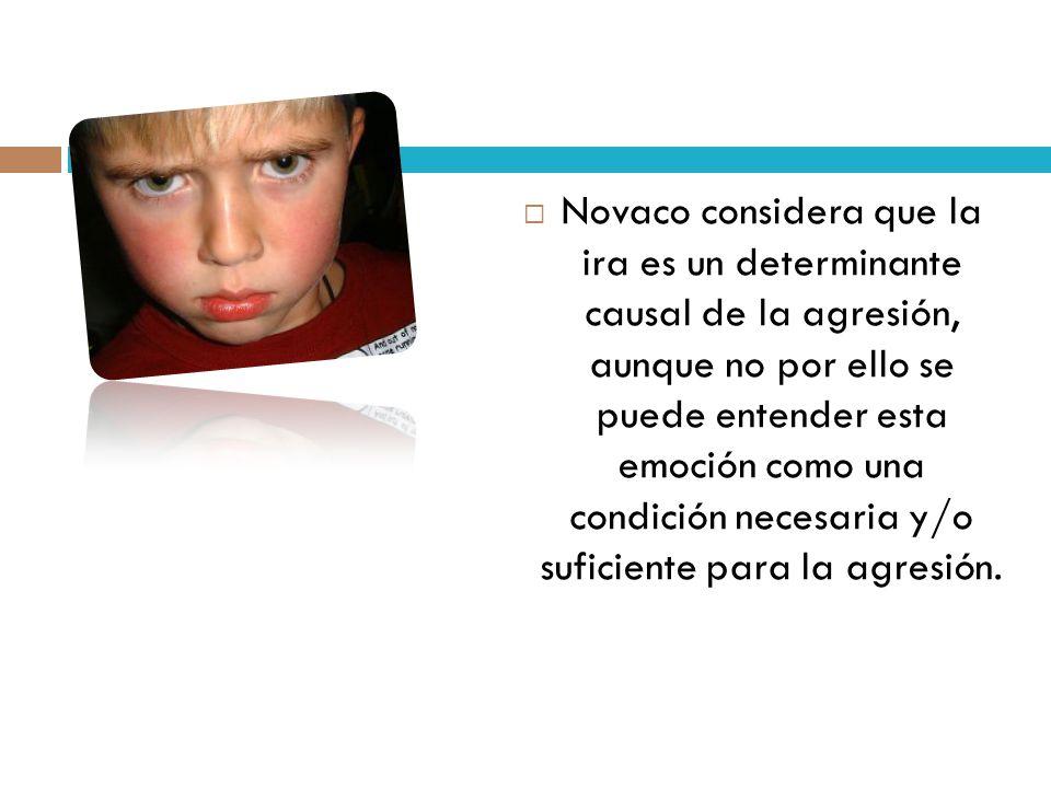 Novaco considera que la ira es un determinante causal de la agresión, aunque no por ello se puede entender esta emoción como una condición necesaria y/o suficiente para la agresión.