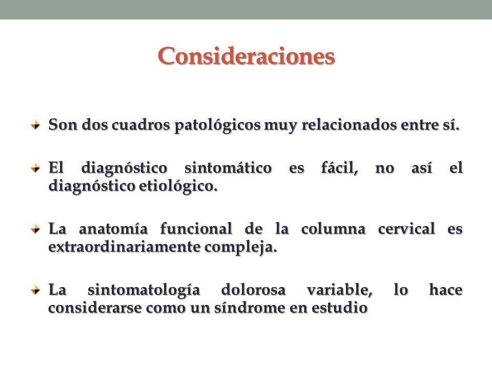 Consideraciones Son dos cuadros patológicos muy relacionados entre sí.