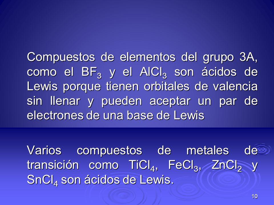 Compuestos de elementos del grupo 3A, como el BF3 y el AlCl3 son ácidos de Lewis porque tienen orbitales de valencia sin llenar y pueden aceptar un par de electrones de una base de Lewis Varios compuestos de metales de transición como TiCl4, FeCl3, ZnCl2 y SnCl4 son ácidos de Lewis.