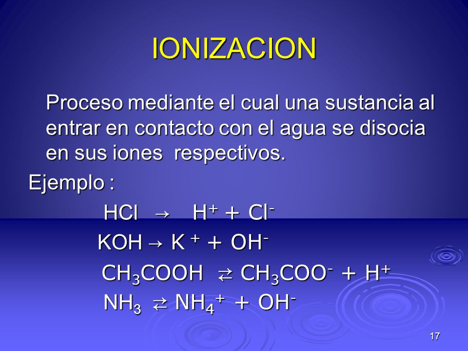 IONIZACION Proceso mediante el cual una sustancia al entrar en contacto con el agua se disocia en sus iones respectivos.
