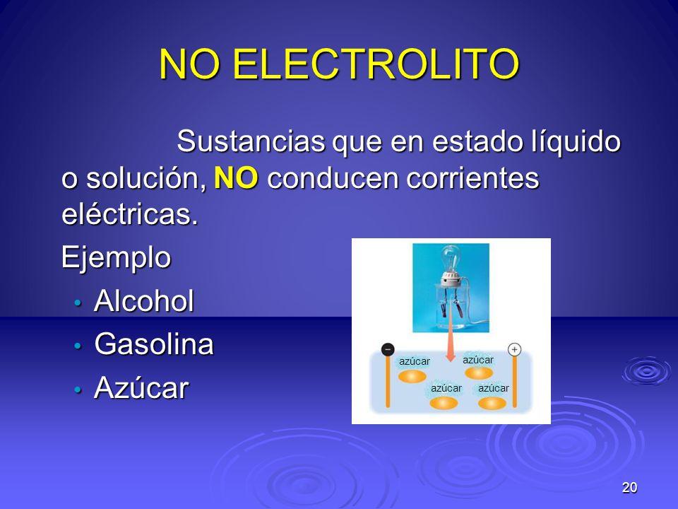 NO ELECTROLITO Sustancias que en estado líquido o solución, NO conducen corrientes eléctricas. Ejemplo.