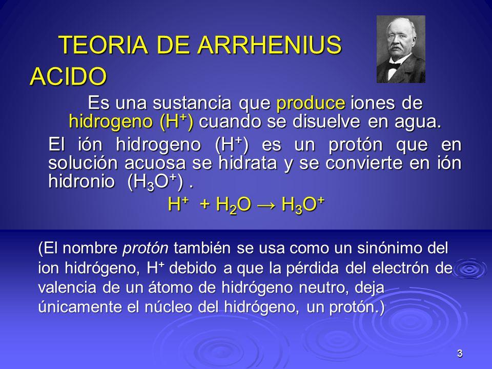 TEORIA DE ARRHENIUS ACIDO