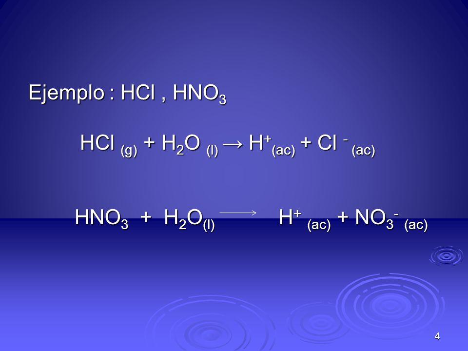 Ejemplo : HCl , HNO3 HCl (g) + H2O (l) → H+(ac) + Cl - (ac) HNO3 + H2O(l) H+ (ac) + NO3- (ac)