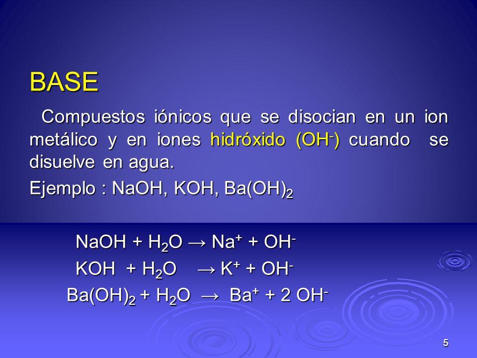 BASE Compuestos iónicos que se disocian en un ion metálico y en iones hidróxido (OH-) cuando se disuelve en agua.