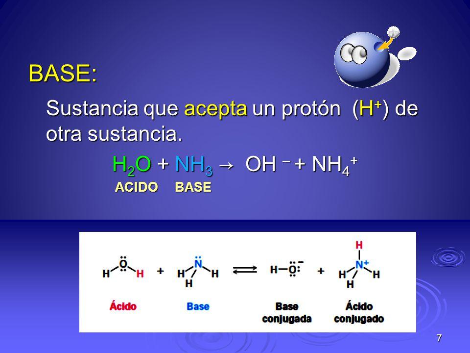Sustancia que acepta un protón (H+) de otra sustancia.
