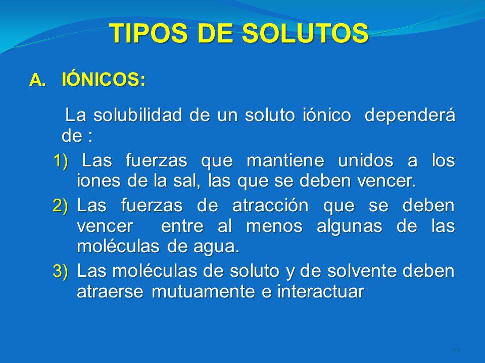 TIPOS DE SOLUTOS IÓNICOS:
