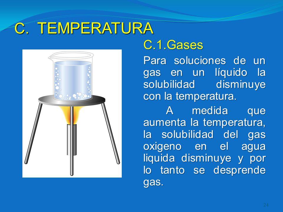 TEMPERATURA C.1.Gases. Para soluciones de un gas en un líquido la solubilidad disminuye con la temperatura.