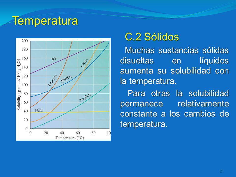 Temperatura C.2 Sólidos. Muchas sustancias sólidas disueltas en líquidos aumenta su solubilidad con la temperatura.