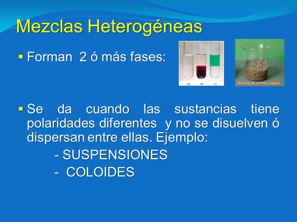 Mezclas Heterogéneas Forman 2 ó más fases: