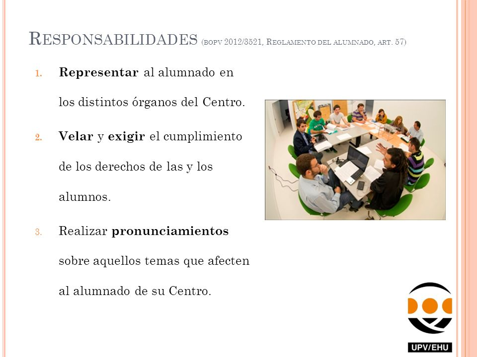 Responsabilidades (bopv 2012/3521, Reglamento del alumnado, art. 57)