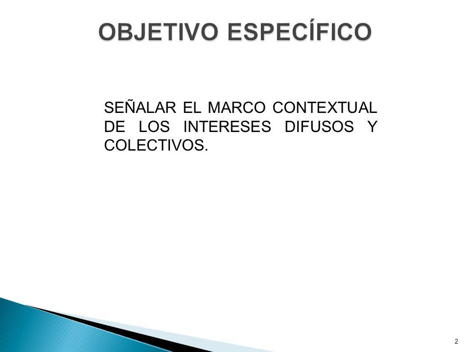 OBJETIVO ESPECÍFICO SEÑALAR EL MARCO CONTEXTUAL DE LOS INTERESES DIFUSOS Y COLECTIVOS.