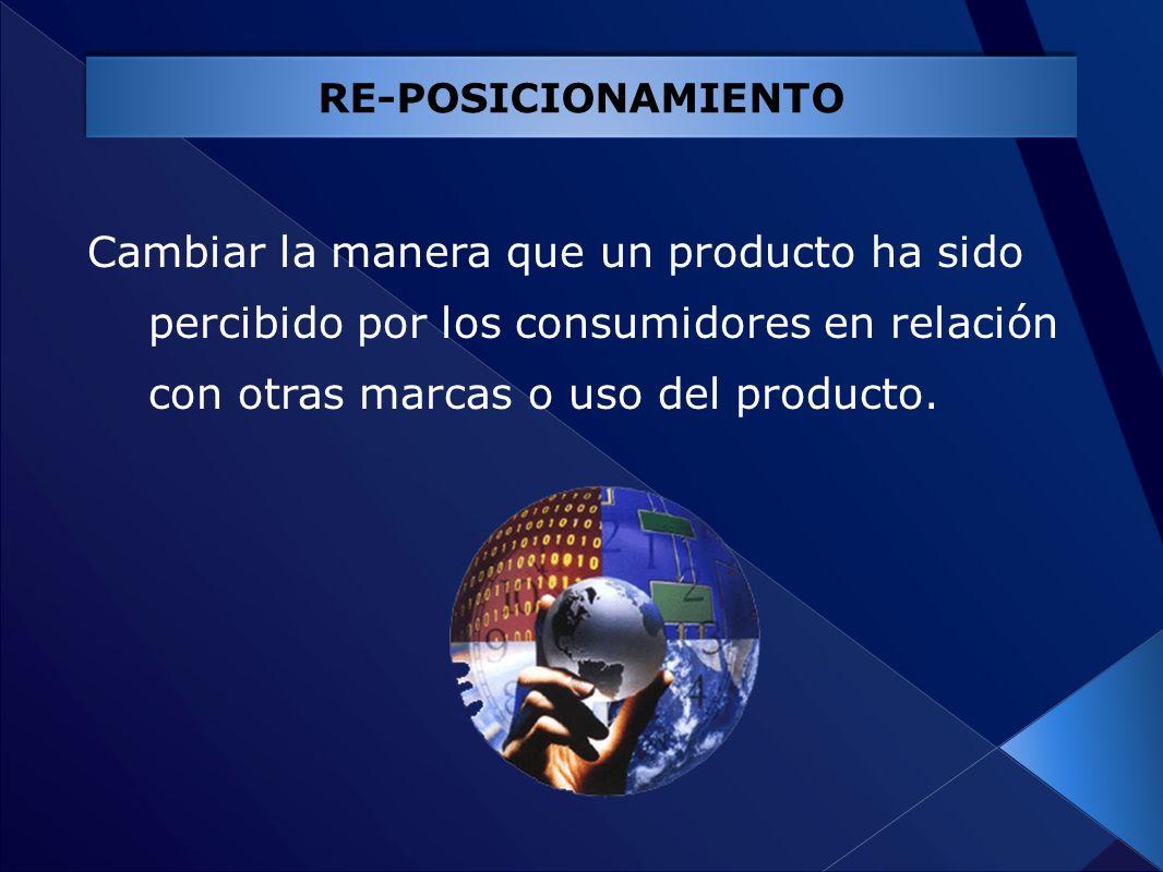 RE-POSICIONAMIENTO Cambiar la manera que un producto ha sido percibido por los consumidores en relación con otras marcas o uso del producto.