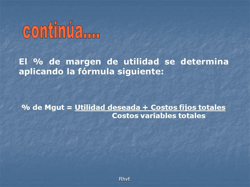 continúa.... El % de margen de utilidad se determina aplicando la fórmula siguiente: % de Mgut = Utilidad deseada + Costos fijos totales.