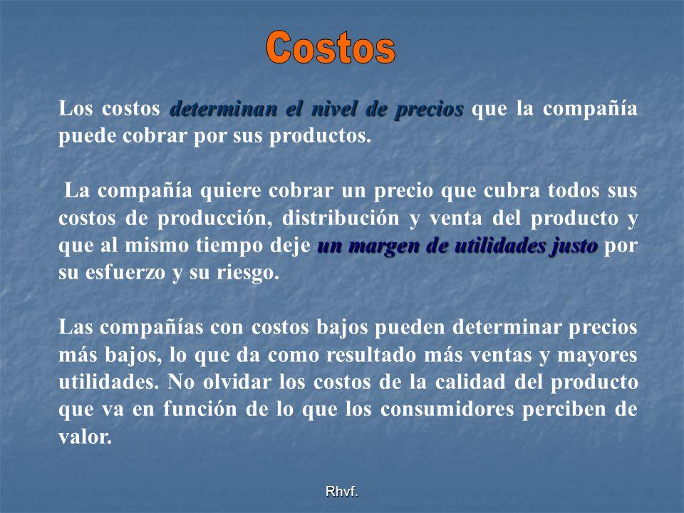 Costos Los costos determinan el nivel de precios que la compañía puede cobrar por sus productos.