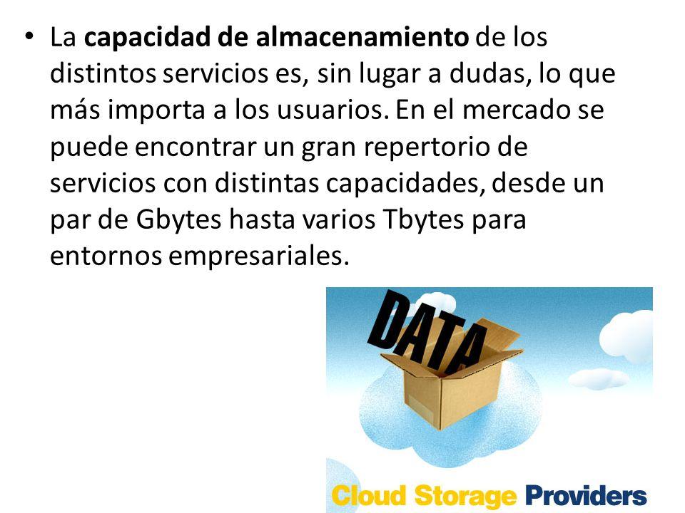 La capacidad de almacenamiento de los distintos servicios es, sin lugar a dudas, lo que más importa a los usuarios.