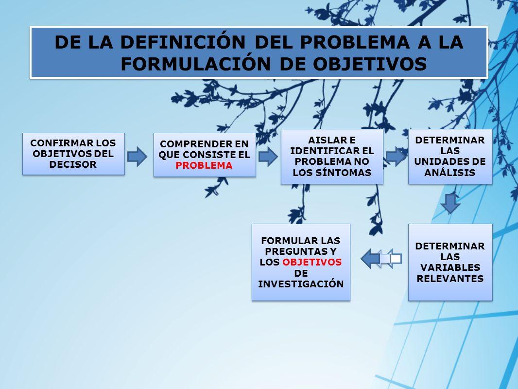 DE LA DEFINICIÓN DEL PROBLEMA A LA FORMULACIÓN DE OBJETIVOS