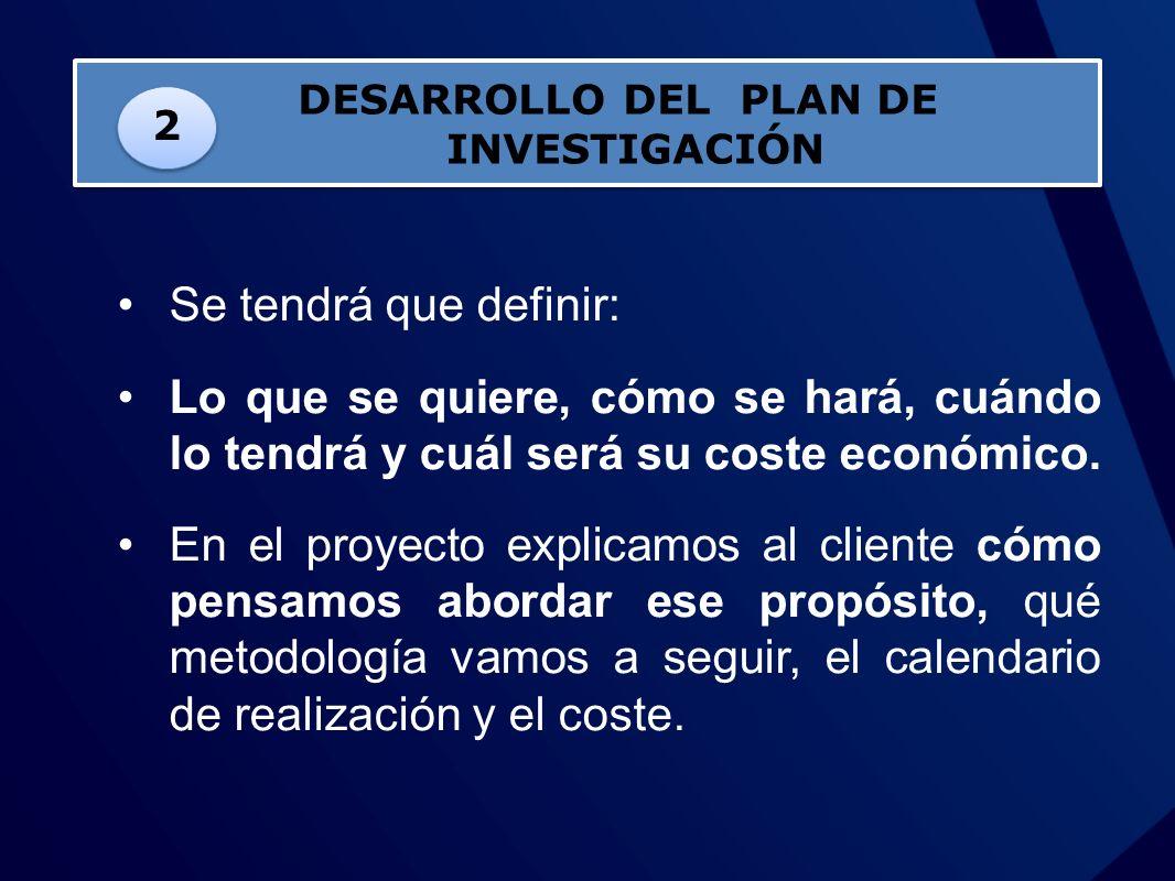 DESARROLLO DEL PLAN DE INVESTIGACIÓN