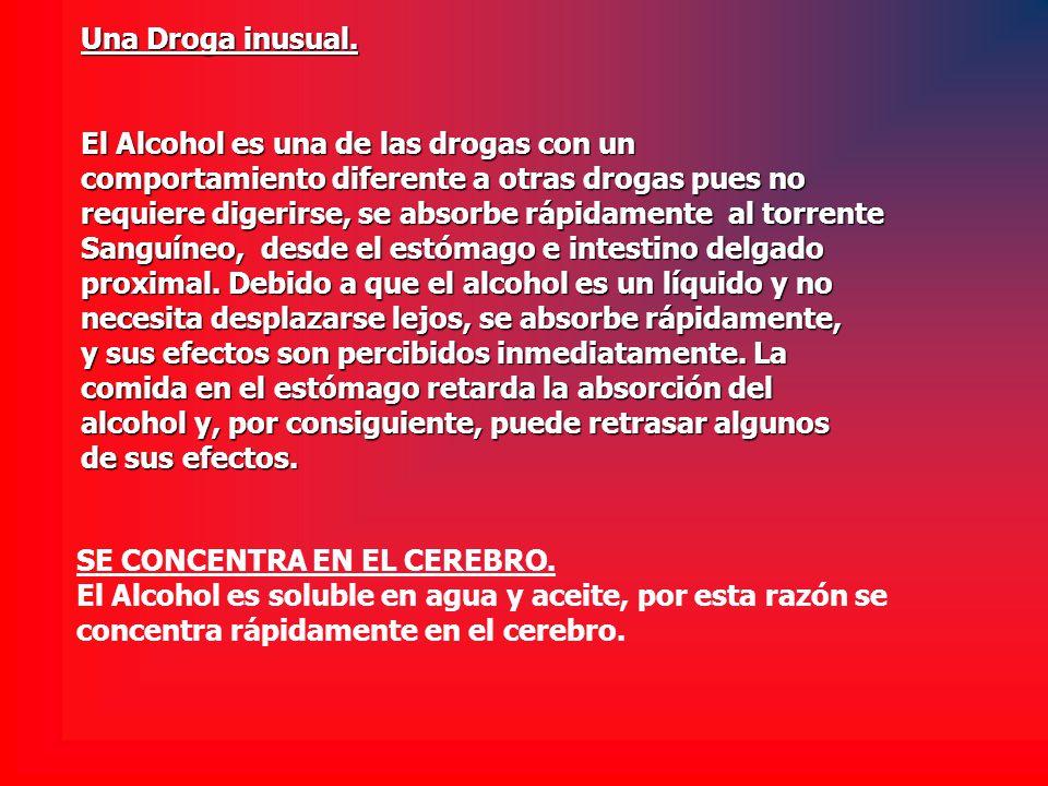 Una Droga inusual. El Alcohol es una de las drogas con un. comportamiento diferente a otras drogas pues no.