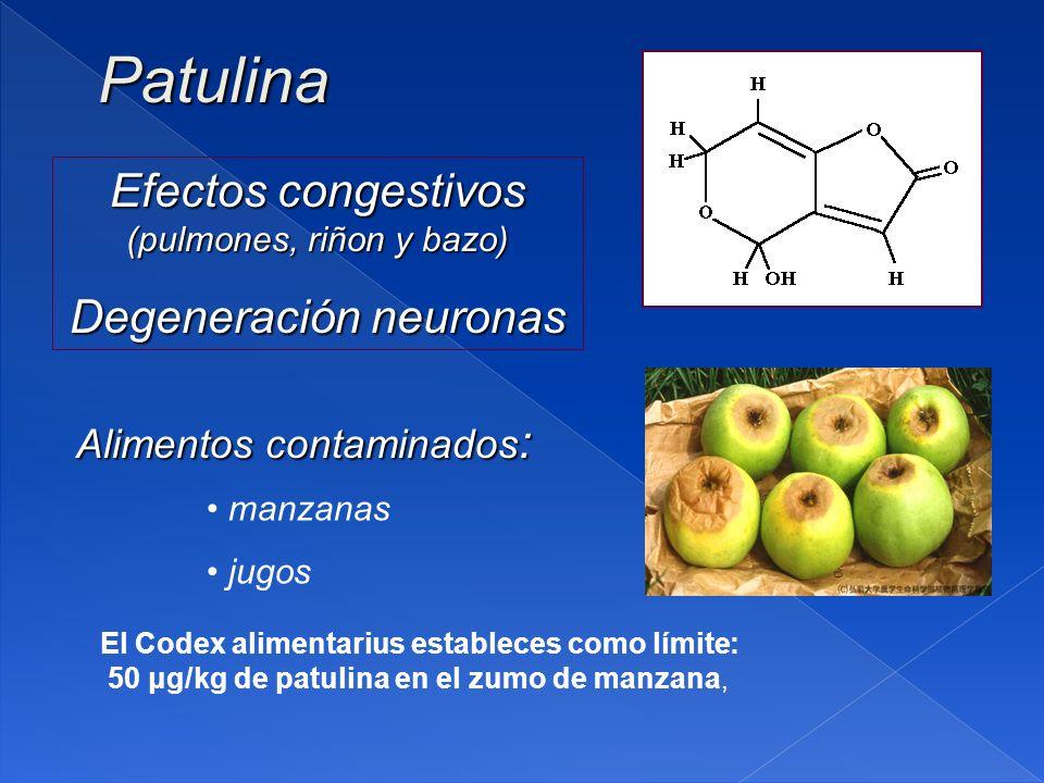 Patulina Efectos congestivos (pulmones, riñon y bazo)