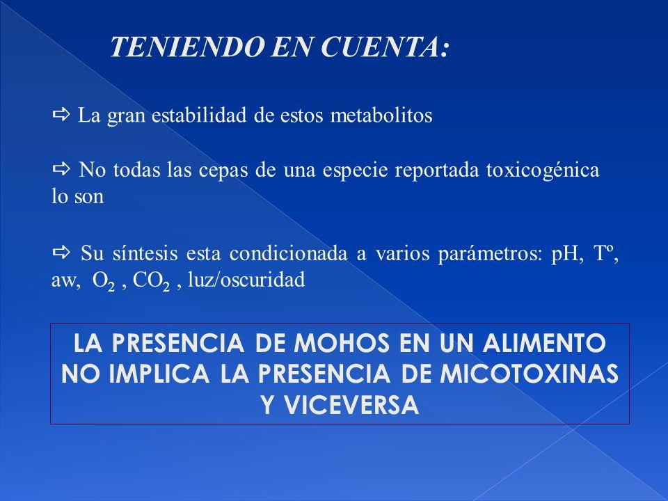 TENIENDO EN CUENTA:  La gran estabilidad de estos metabolitos.  No todas las cepas de una especie reportada toxicogénica lo son.