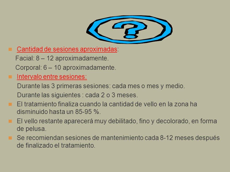 Cantidad de sesiones aproximadas: