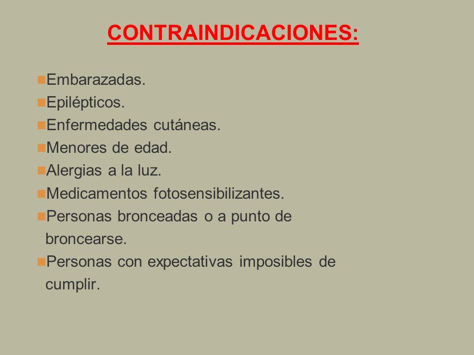 CONTRAINDICACIONES: Embarazadas. Epilépticos. Enfermedades cutáneas.