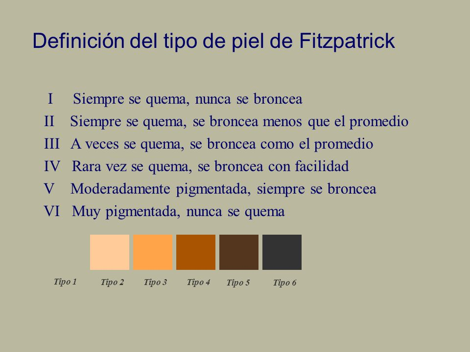 Definición del tipo de piel de Fitzpatrick
