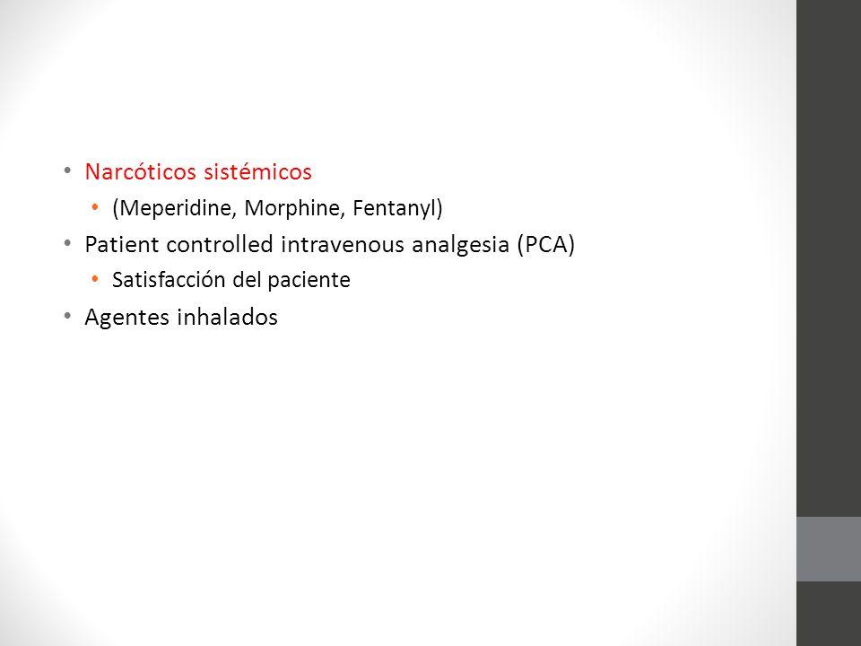 Narcóticos sistémicos Patient controlled intravenous analgesia (PCA)