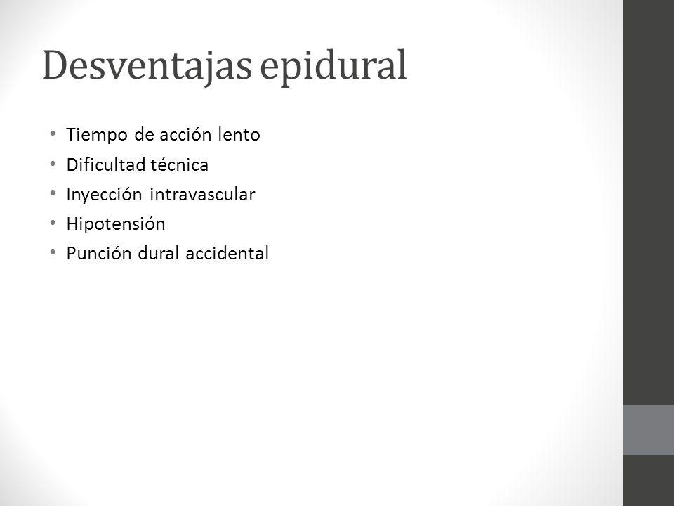 Desventajas epidural Tiempo de acción lento Dificultad técnica