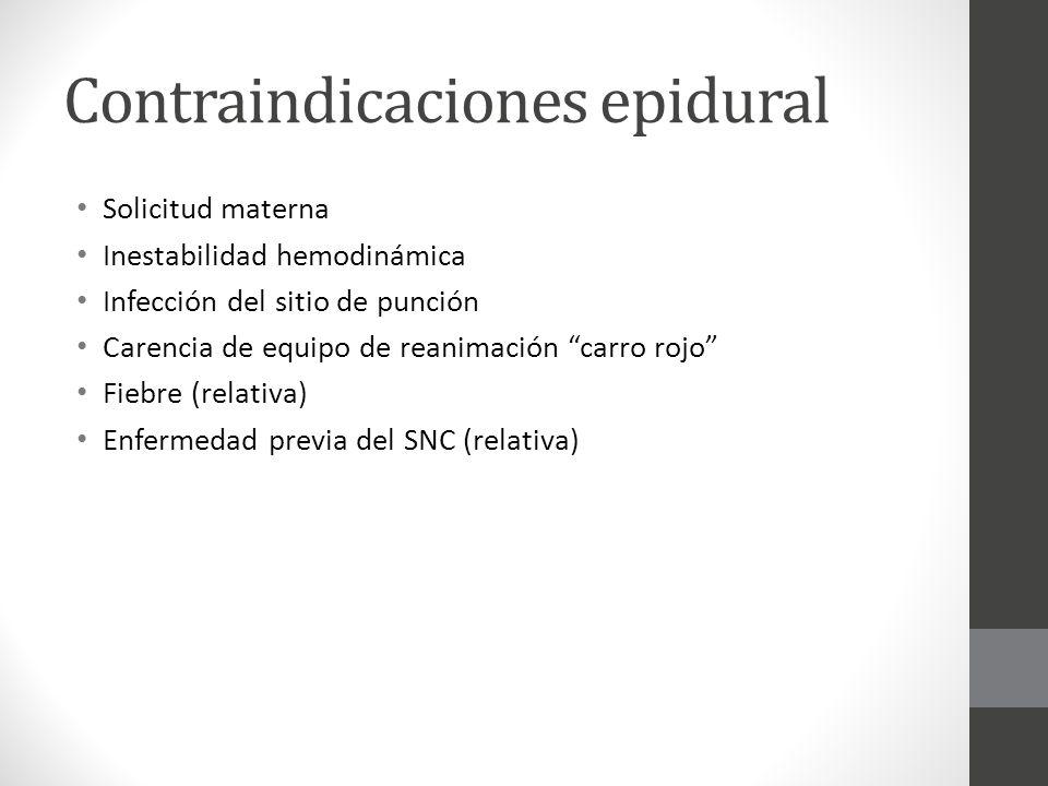 Contraindicaciones epidural