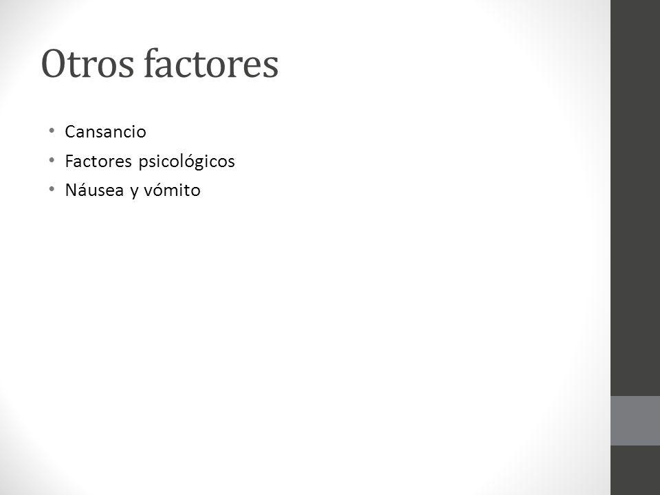 Otros factores Cansancio Factores psicológicos Náusea y vómito