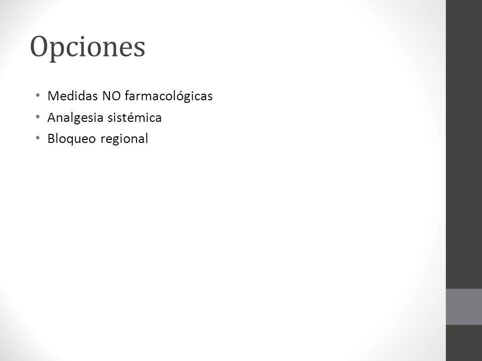 Opciones Medidas NO farmacológicas Analgesia sistémica