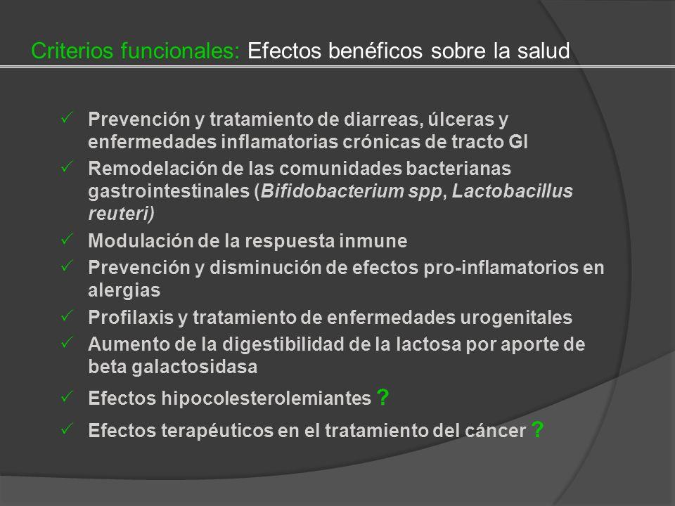 Criterios funcionales: Efectos benéficos sobre la salud