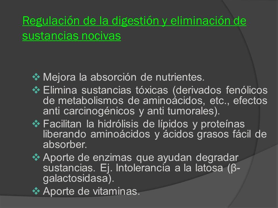 Regulación de la digestión y eliminación de sustancias nocivas
