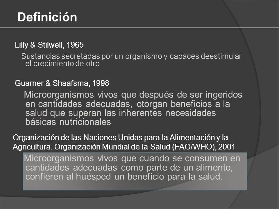 Definición Lilly & Stilwell, 1965. Sustancias secretadas por un organismo y capaces deestimular el crecimiento de otro.
