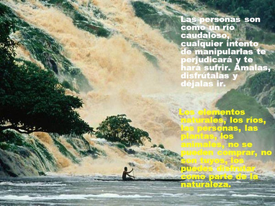 Las personas son como un río caudaloso, cualquier intento de manipularlas te perjudicará y te hará sufrir. Ámalas, disfrútalas y déjalas ir.
