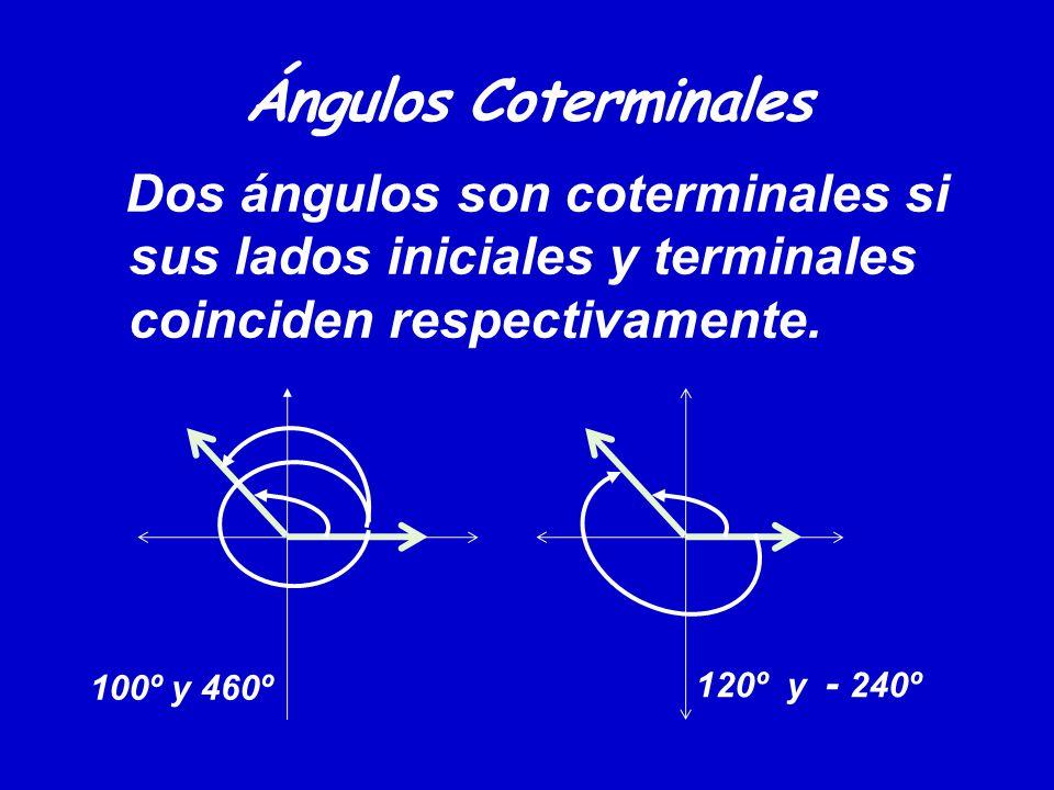 Ángulos Coterminales Dos ángulos son coterminales si sus lados iniciales y terminales coinciden respectivamente.