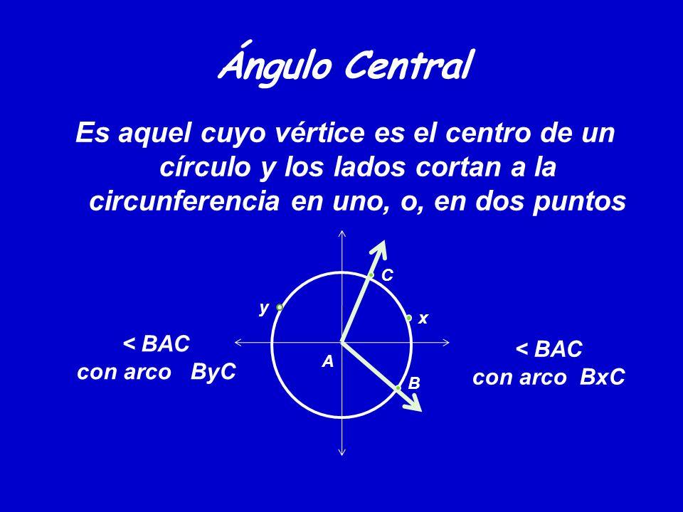 Ángulo Central Es aquel cuyo vértice es el centro de un círculo y los lados cortan a la circunferencia en uno, o, en dos puntos.