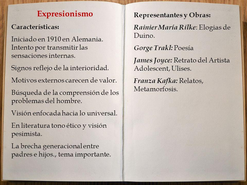 Expresionismo Representantes y Obras: Características: