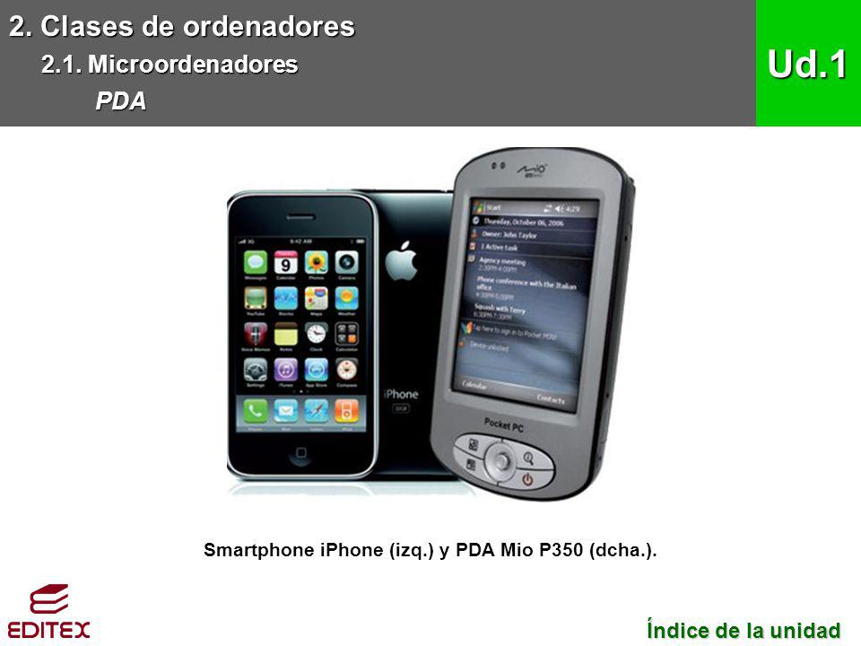 Smartphone iPhone (izq.) y PDA Mio P350 (dcha.).