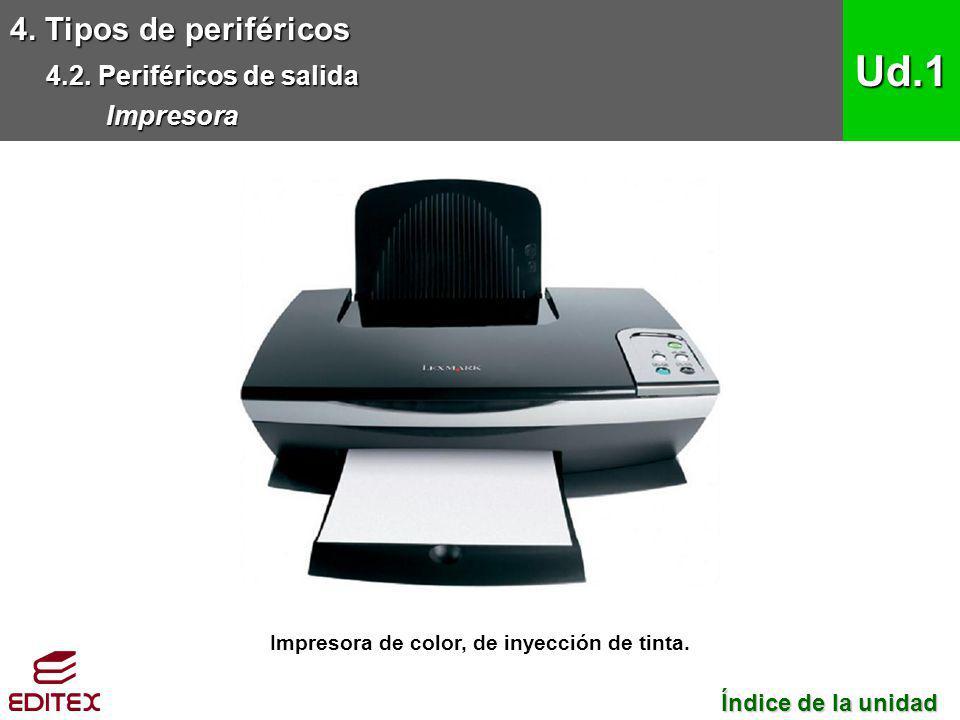 Impresora de color, de inyección de tinta.