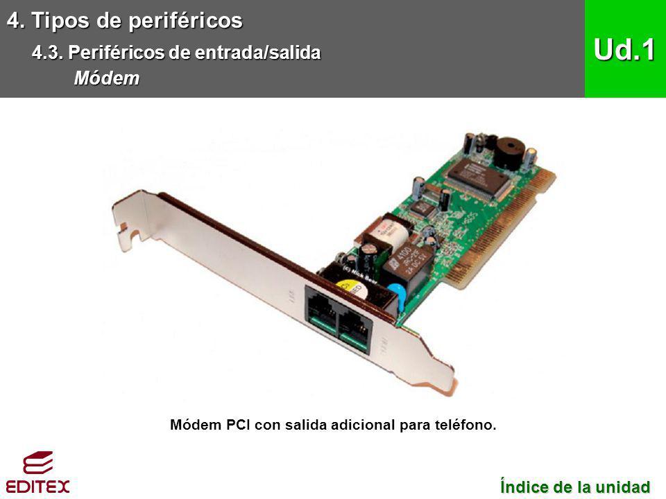 Módem PCI con salida adicional para teléfono.