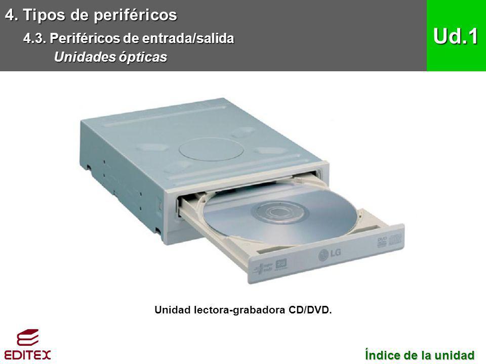Unidad lectora-grabadora CD/DVD.